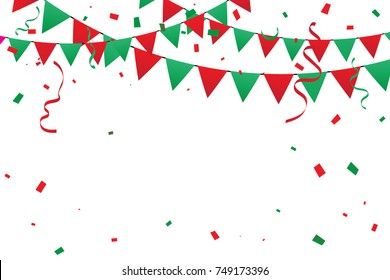 Christmas background with red and green confetti ribbons. Celebration and party event