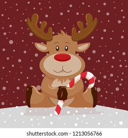 Christmas background reindeer with candy stick. Vector illustration