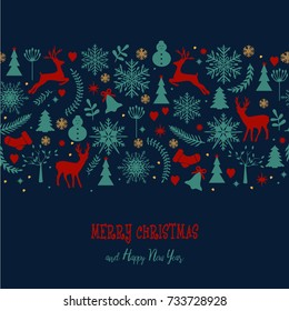 Christmas background in retro style lettering and decorative winter elements. Illustration for greeting card, banner, poster. Christmas pattern, wrapping, Wallpaper, textile. Vector background.