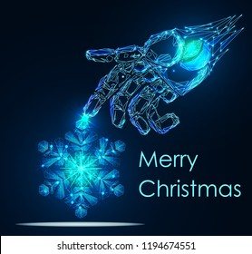 Christmas background. Robot arm holding a snowflake. Lettering Merry Christmas card vector Illustration