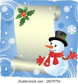 Christmas background with  roll and snowman