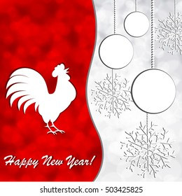 Christmas background with rooster and ball and snowflake