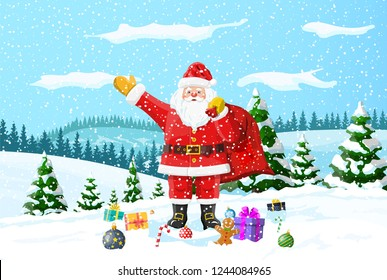 Christmas background. Santa claus with bag with gifts. Winter landscape with fir trees forest and snowing. Happy new year celebration. New year xmas holiday. Vector illustration flat style