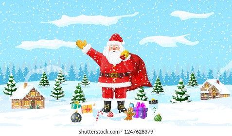 Christmas background. Santa claus with bag with gifts. Winter landscape with fir trees forest and snowing. Village. Happy new year celebration. New year xmas holiday. Vector illustration flat style