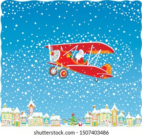 Christmas background with Santa Claus flying his old wood airplane through snowfall over a small town, vector illustration in a cartoon style