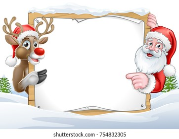 A Christmas background with Santa Claus and his reindeer cartoon characters peering around a sign with copy space