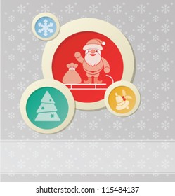Christmas background with Santa Claus  and New Year symbol