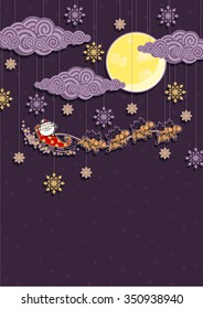 Christmas background with Santa Claus and reindeers