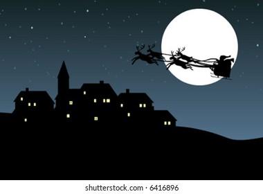 Christmas background, Santa Claus riding his sleigh over a village