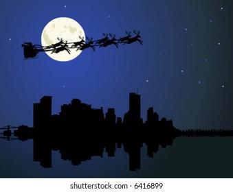 Christmas background, Santa Claus riding his sleigh over a city