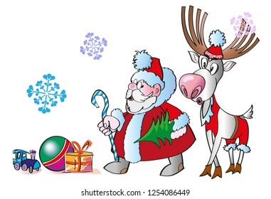 Christmas Background with Santa Claus, Rudolf, new Year gifts