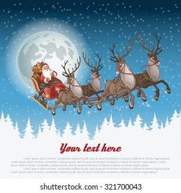 Christmas background with Santa driving his sleigh across the face of the moon on winter night and copyspace for your text