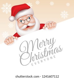 Christmas background with santa is holding the board