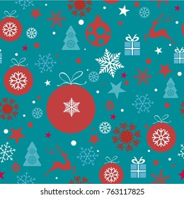Christmas background, seamless tiling, great choice for wrapping paper pattern with christmas ornaments, balls, stars, snowflakes, stars, reindeer, christmas tree in red, blue, white tones