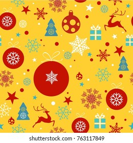 Christmas background, seamless tiling, great choice for wrapping paper pattern with christmas ornaments, balls, stars, snowflakes, stars, reindeer, christmas tree in red, yellow, blue and white tones