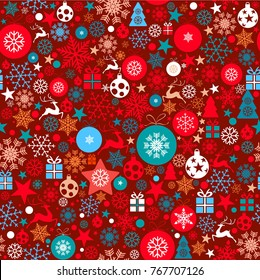 Christmas background, seamless tiling, great choice for wrapping paper pattern with Christmas ornaments, balls, stars, snowflakes, stars, reindeer, Christmas tree in white, red and blue tones on red