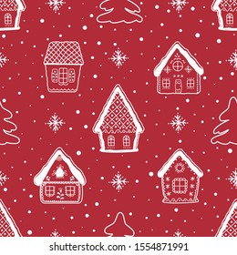 Christmas background. Seamless winter pattern with beautiful Christmas houses. White silhouettes of fabulous buildings, fir trees and snowflakes on a red background. Vector illustration