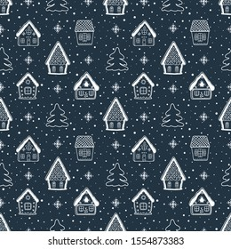 Christmas background. Seamless winter pattern with beautiful Christmas houses. White silhouettes of fabulous buildings, fir trees and snowflakes on a dark blue background. Vector illustration