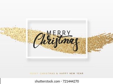 Christmas background with shining gold paint brush. Xmas greeting card,