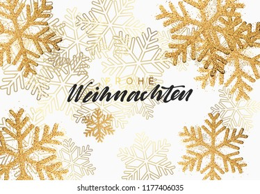 Christmas background with shining gold snowflakes. German text Frohe Weihnachten Merry Christmas. Xmas festive greeting card vector Illustration.