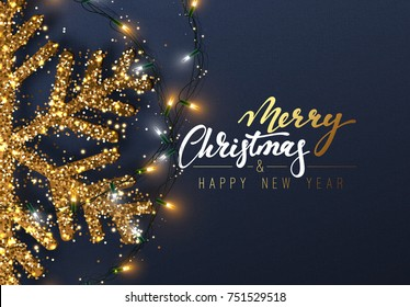 Christmas background with Shining gold Snowflakes. Lettering Merry Christmas card vector Illustration.