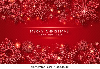 Christmas background with shining golden snowflakes and snow. Merry Christmas card illustration on red background. Sparkling shiny snowflakes with glitter texture