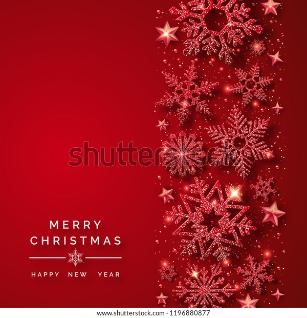 Christmas background with shining red snowflakes and snow. Merry Christmas card illustration on red background. Sparkling red snowflakes with glitter texture