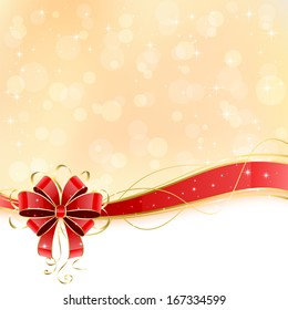 Christmas background with shiny red bow, illustration.