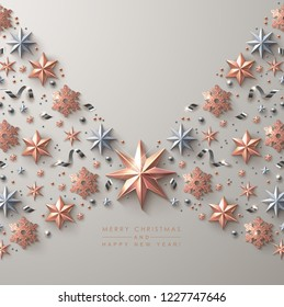 Christmas Background with  Shiny Rose Gold Stars, Snowflakes and Beads