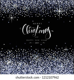 Christmas Background with silver sparkles, modern Hand Drawn Lettering, vector illustration, luxury backdrop for your Holiday designs