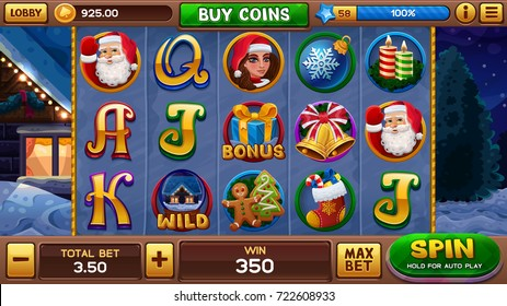 Christmas background for slots game. Vector illustration