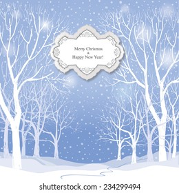 Christmas background. Snow winter landscape.  Retro Merry Christmas greeting card.