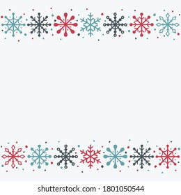 Christmas background with snowflakes and copyspace. Empty Xmas greeting card. Vector
