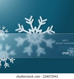 Christmas background with snowflakes and  with glass transparent place for the text