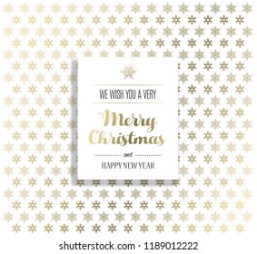 Christmas background with snowflakes and Merry Christmas label.