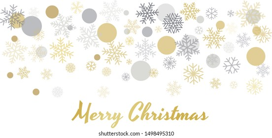 Christmas background with snowflakes and place for text. Winter gold and silver snow minimal decoration on white, greeting card. New Year Holidays backdrop. Vector illustration EPS 10