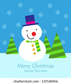 Christmas background with snowflakes, snowman and Christmas tree / Christmas card with snowman background