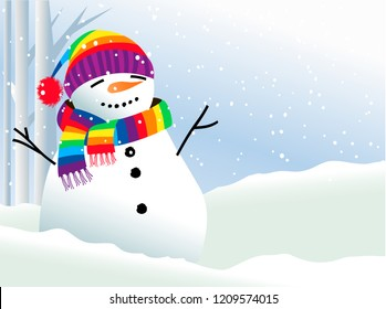 Christmas background with  snowman in rainbow scarf