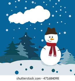 Christmas background. snowman and Christmas trees. snowflakes.