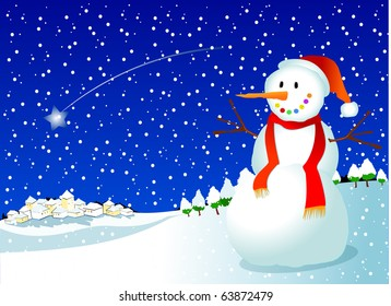 Christmas background with snowman, vector