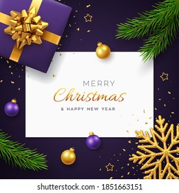 Christmas background with square paper banner, realistic purple gift box with golden bow, pine branches, gold stars and glitter snowflake, balls bauble. Xmas background, greeting cards. Vector.