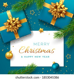 Christmas background with square paper banner, realistic blue gift boxes with golden bow, pine branches, gold stars and glitter confetti, balls bauble. Xmas background, greeting cards. Vector.