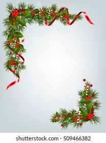 Christmas background with tree branch border. Christmas Garland with berry star and ribbon.