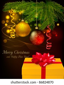Christmas background with christmas tree branches, christmas balls and a gift box. Vector illustration.