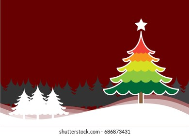 Christmas background with Christmas tree colorful vector for background illustration.