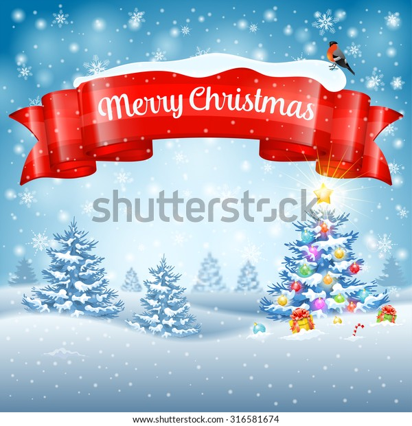 Christmas Background with Tree, Gifts, Ribbon, Snowflakes and Bullfinch on Snowy background. Vector Template for Cover, Flyer, Brochure, Greeting Card.