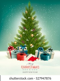 Christmas background with a Christmas tree and presents with santa hat. Vector.