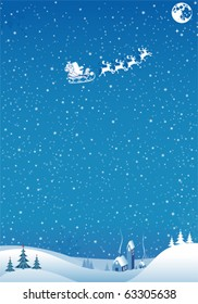 Christmas background with tree, Santa, house, element for design, vector illustration