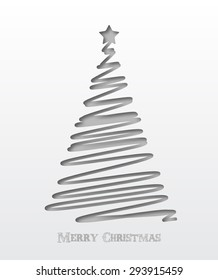 Christmas background. Christmas tree scribble card in cut paper style design. Vector illustration.