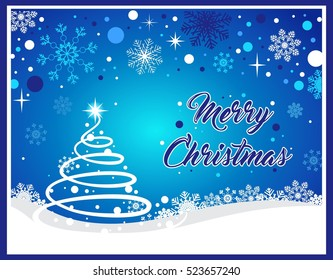 Christmas background with Christmas tree, snow and snowflakes on blue background. Christmas vector illustration with Merry Christmas text.